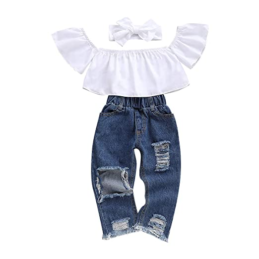 54a442ce4535b Baby Clothes Girl Summer Outfits Ruffle Sleeve Off Shoulder Lotus Leaf Top  Holes Denim Ripped Jeans