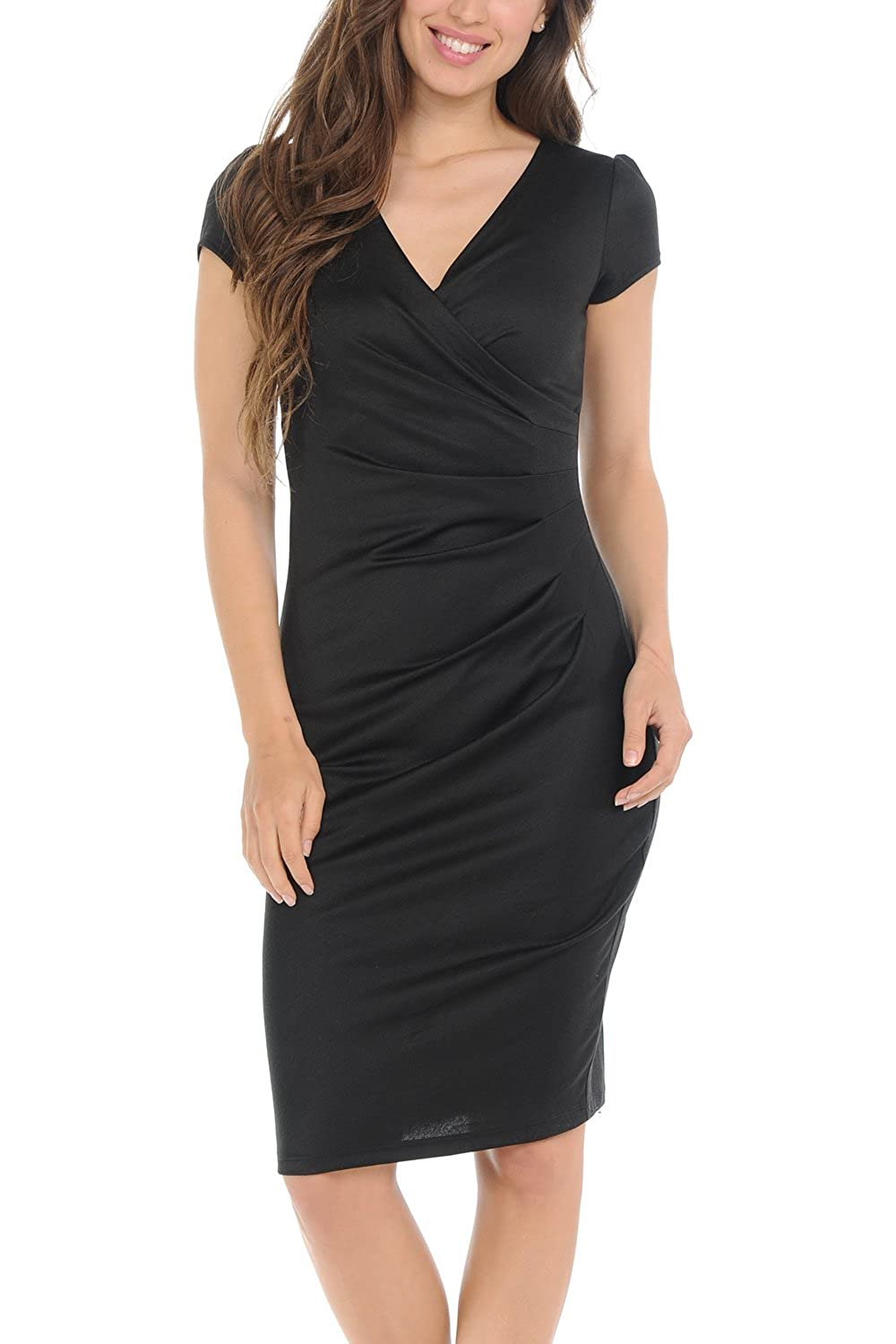 24e3f9064a Top1  Auliné Collection Womens V-neck Zip Up Work Office Career Side Wrap  Sheath Dress