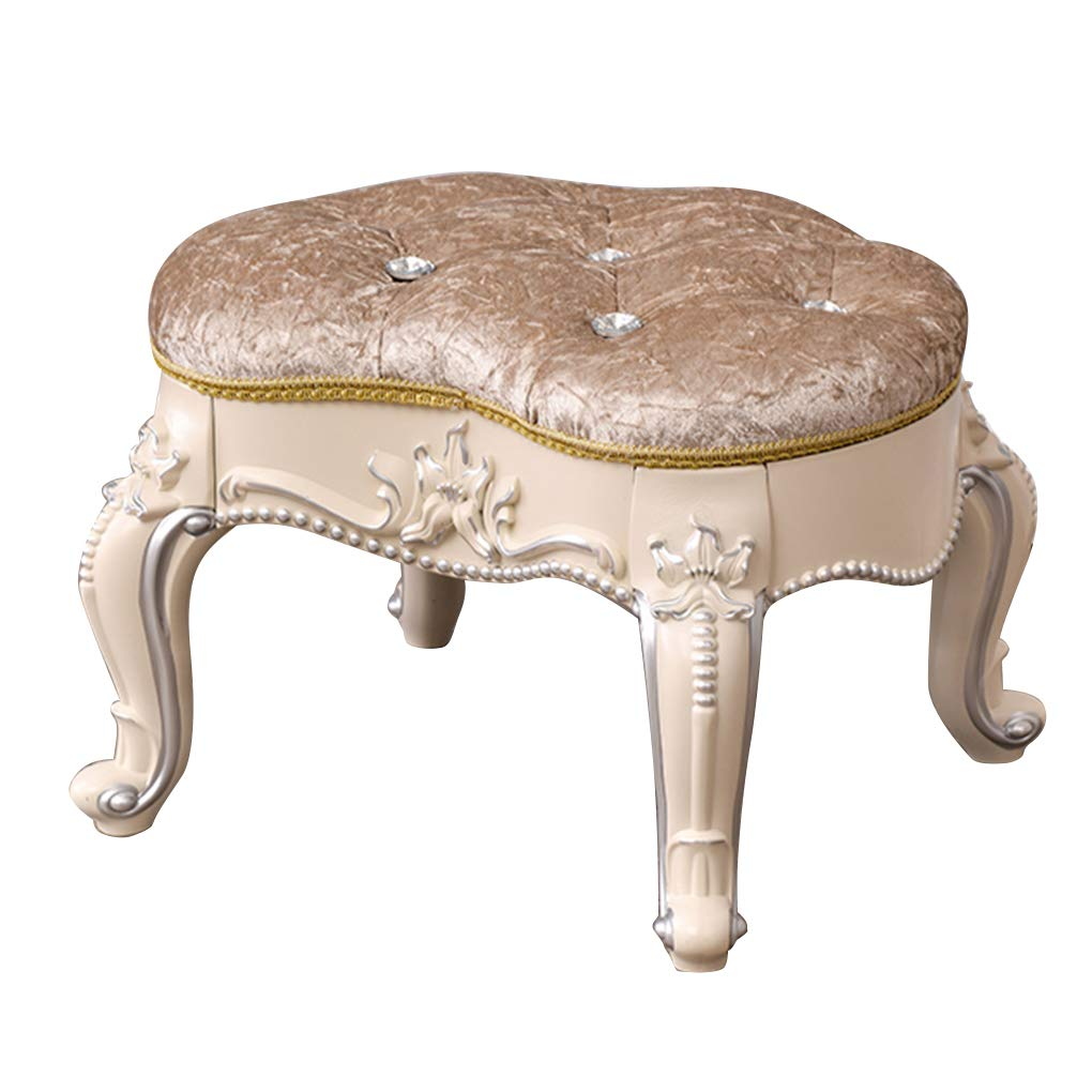 Baroque Piano Chair Padded Bench Makeup Stool Solid Wood Legs