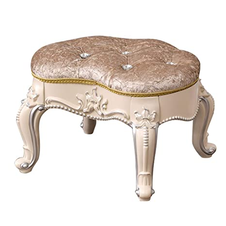 Baroque Piano Chair Solid Wood Legs Padded Bench Makeup Stool Chair Footstool Vanity Stool for Bedroom//Dressing Room//Living Room//Restaurant Change Shoes Bench