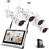 Tout-en-Un Système de Caméra Sécurité avec 12 Pouce LCD Moniteur, Vidéo Caméra sans Fil, 4CH 1080p WiFi Kit de DVR Surveillance avec 4pcs 2.0MP CCTV IP Caméras, Intérieur et Extérieur, 1TB Disque Dur