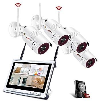 Kit Cámaras de Seguridad Inalámbricas con 12 Pulgadas de Monitor LCD, ANRAN Kits de Vigilancia