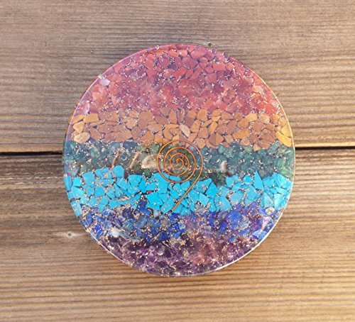 [A&S Crystals ] Huge! 7 CHAKRA LAYERED Orgone Gemstone Disk Charging Plate