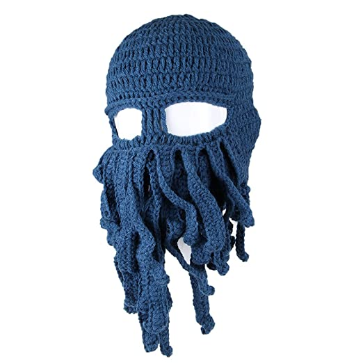 FREE FISHER Unisex Knit Octopus Yarn Tentacle Beard Beanie Kraken Hat Funny  Gift Blue 4e389806d4e