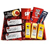 WISCONSIN'S BEST & WISCONSIN CHEESE CO - BADGER FAN DELUXE FISHING Gift Basket - Smoked Summer Sausages, 100% Wisconsin Cheeses, Crackers & Badger Gifts