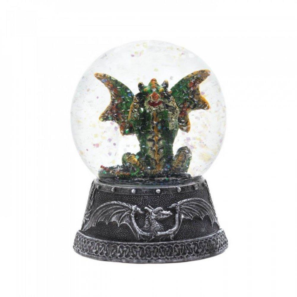 Green//Gold//Purple Snow Globe Dragon Guarding Crystals Sculptured Resin Water Ball Music Box 5 3//4 High Musical Snow Globes 36153