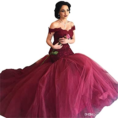 435e3e19bcb Lace Applique Prom Dress Off Shoulder Mermaid Tulle Long 2019 Evening Formal  Gowns for Women at Amazon Women s Clothing store