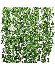 12 Strands Artificial Ivy Leaf Plants Vine Hanging Garland Fake Foliage Flowers Home Kitchen Garden Office Wedding Wall Decor, Green