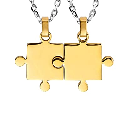 9d15a8874b His & Hers Puzzle Matching Piece Couples Pendant Necklace Set with 48 & 53  cm Chains