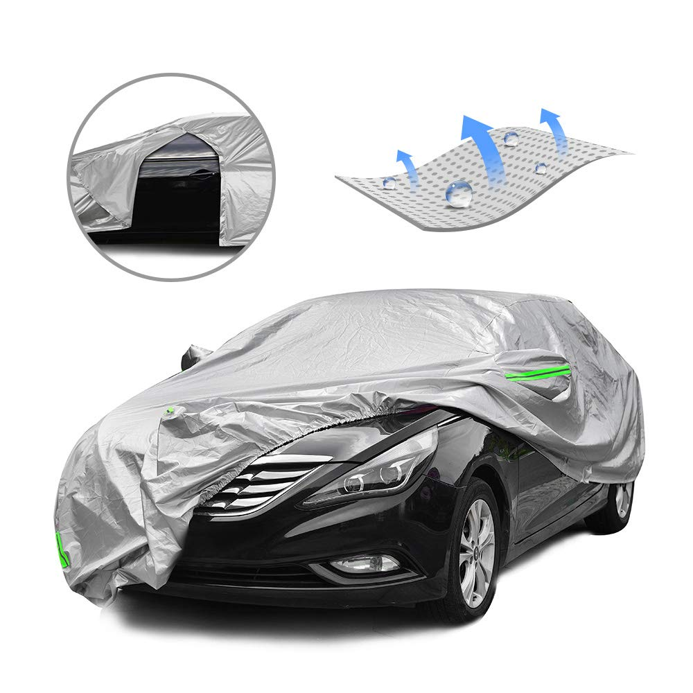 Tecoom LSD03 Breathable Material Door Shape Zipper Design Waterproof UV-Proof Windproof Car Cover with Storage and Lock for All Weather Indoor Outdoor Fit 191-200 inches Sedan