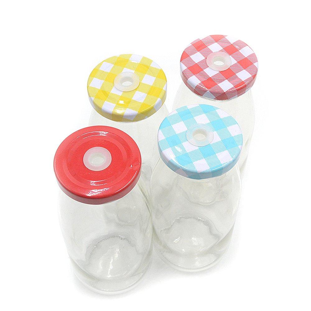 cannuccia barbecue Mini bottiglie di vetro da latte per matrimoni feste set da 4 con coperchio stile retr/ò