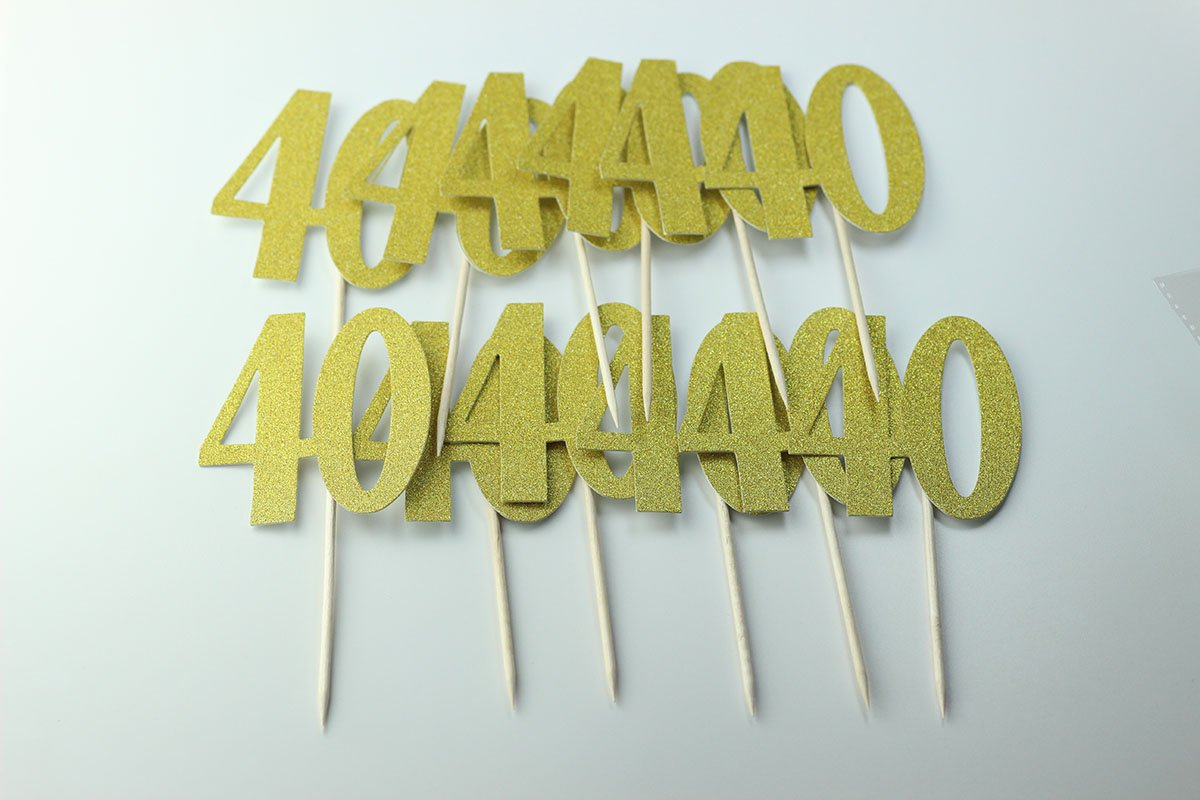Easthors Lot of 12 40th Birthday Decorations Anniversary Cake Cupcake Topper Gold by Easthors (Image #1)