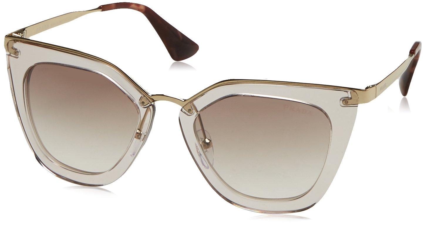 Prada Women's Transparent Sunglasses, Transparent Brown/Brown, One Size