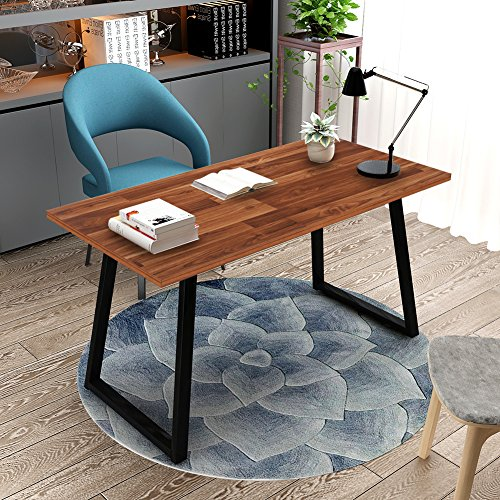 Computer Desk, Tribesigns 55u2033 Rustic Writing Desk With Heavy Duty Metal  Base, Industrial Vintage Home Office Desk Works As Study Table Or PC Laptop  Table ...
