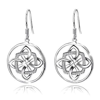 Women's Good Luck 925 Sterling Silver Celtic Knot Drop&Dangle Earrings Drops 3HFare3rVN
