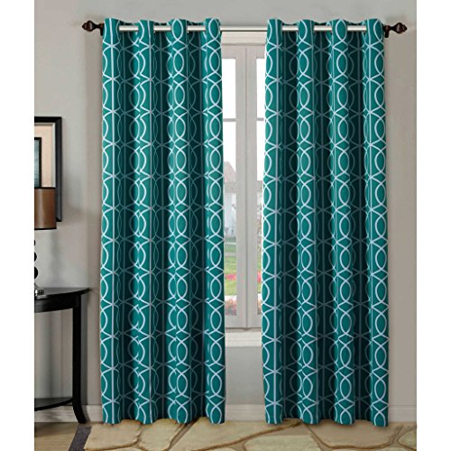 Exceptional Thick And Soft Microfiber Room Darkening Blackout Curtains / Window Drapes  (Grommet 2 Panels, 52 By 84   Inch, Slub Twilight Pattern In Teal Blue)