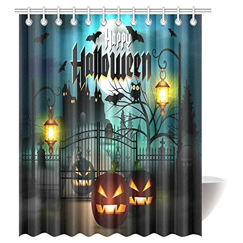 InterestPrint Scary Decorations Shower Curtain, Happy Halloween Spooky Carved Halloween Pumpkin Decor Art Fabric Bathroom Decor Set with Hooks, 69 X 84 Inches