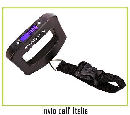Newnet Báscula A Mano Pesa Maleta Maletas equipajes Paquetes de 10 G 50 kg ergonómica Pantalla