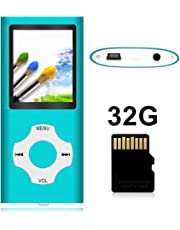 $28 Get Tomameri - Portable Mp3 / Mp4 Player with Rhombic Button, Including a Micro SD Card and Support Up to 64GB, Compact Music, Video Player, Photo Viewer Supported - White+Blue