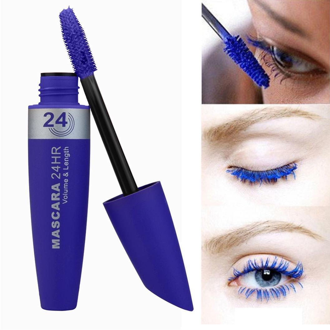 Nesix Lash Mascara, Fiber Mascara Eye Lashes Makeup Lash Long Curling Makeup Eyelash Multicolor Waterproof Mascara, Long Style Washable Mascara Natural Ingredients Mascara (Blue)