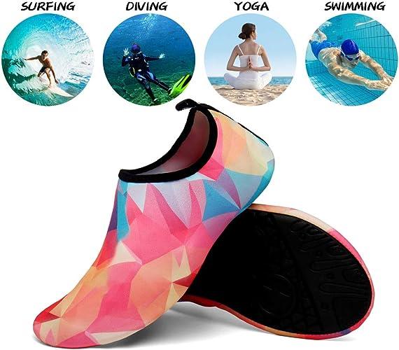 SOLLOMENSI Chaussures Aquatiques Chaussures pour Piscine et Plage Enfants Hommes Femmes S/échage Rapide Pieds Nus Plong/ée Surf Yoga Sport Aquatique Filles Gar/çons