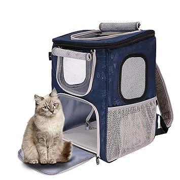 QIQI Bolso Al Aire Libre Plegable del Viaje del Portador Portátil De La Mochila del Viaje del Animal Doméstico para El Gato Y El Perrito (Color : Azul): ...