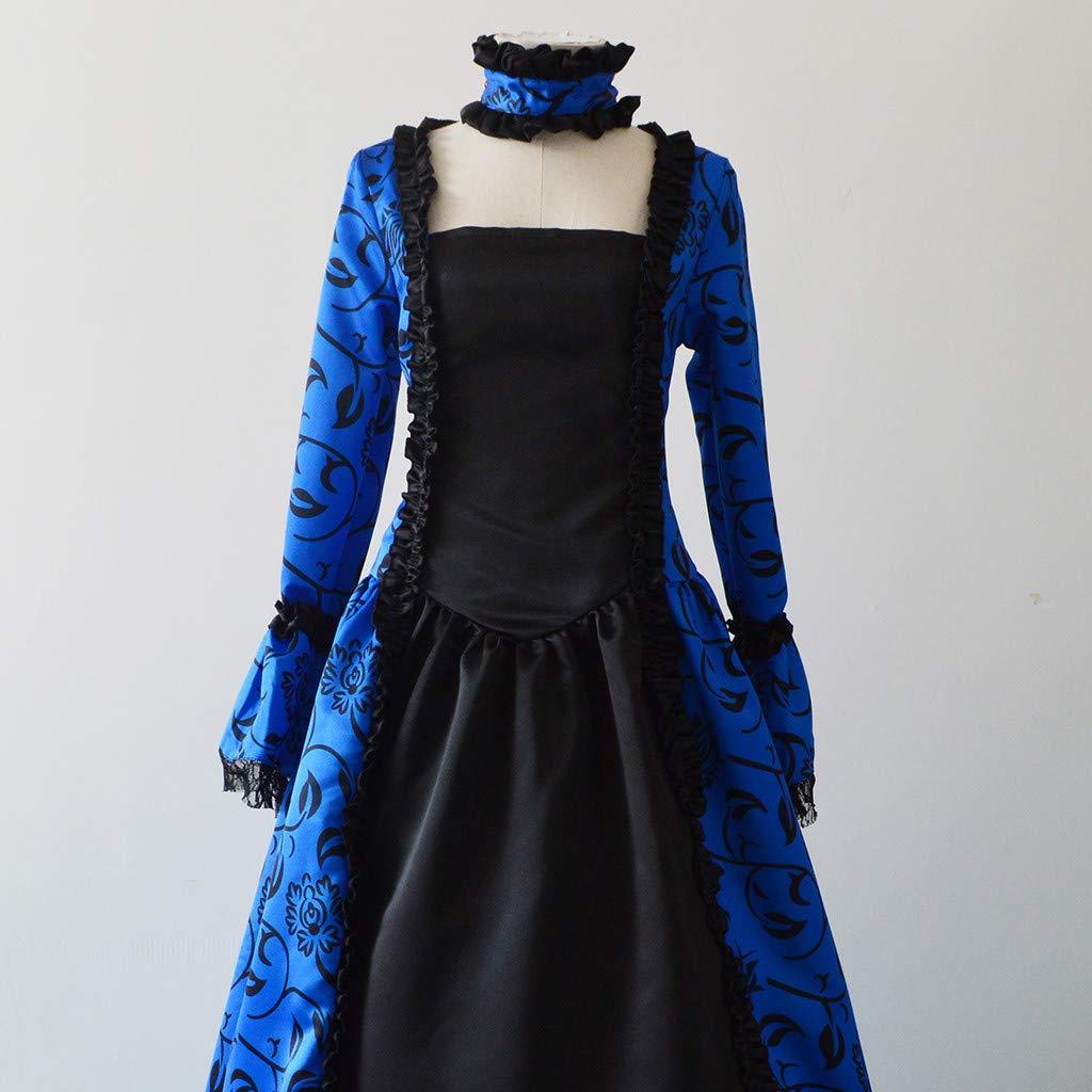 MINXINWY/_Vestito donna Carnevale Medievale Rinascimento Vestito Palazzo Manica Lunga Retro Lungo Abito Cosplay Costume Partito Veste Abbigliamento