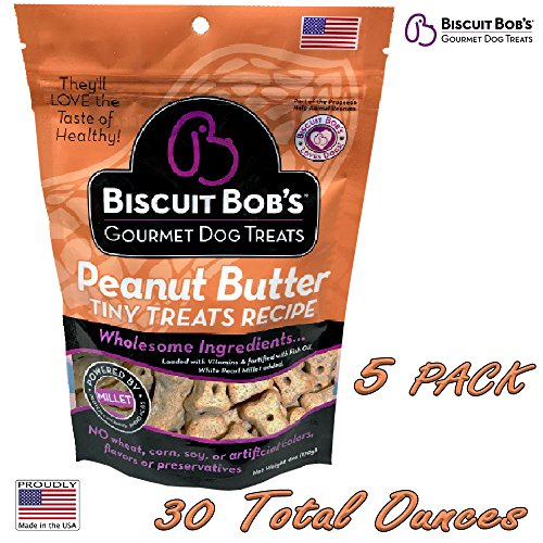 Biscuit Bob's 5 Pack Peanut Butter Flavored Tiny Dog Treats Wheat Corn and Soy Free Made in the USA with Ingredients From the USA
