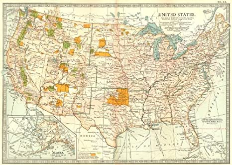 USA. United States Showing Indian Reserves, National Park & Forests - 1903  - Old map - Antique map - Vintage map - Printed maps of USA