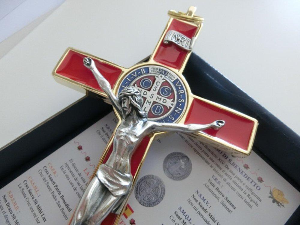 GTBITALY 10.004.21/Red San Benito Cruz Oro Rojo 20/cm esmaltada con Caja Box Gift Saint Benedict esorcismo Lou patrou esorcista Sacerdote Monja Iglesia