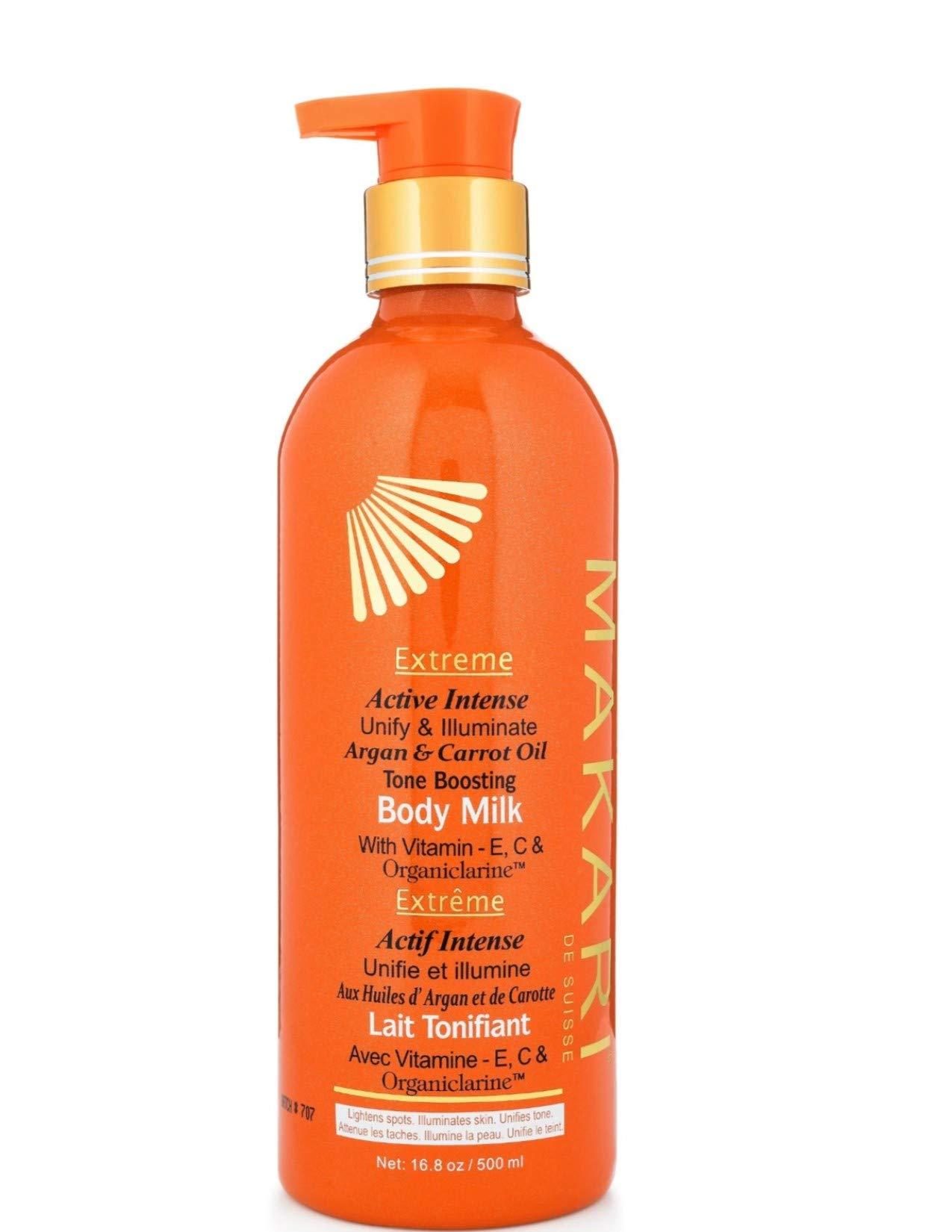 Makari Extreme Carrot & Argan Oil Skin Toning BODY MILK 16.8oz – Lightening, Brightening & Tightening Body Lotion with Organiclarine – Whitening & Anti-Aging Treatment for Dark Spots, Acne