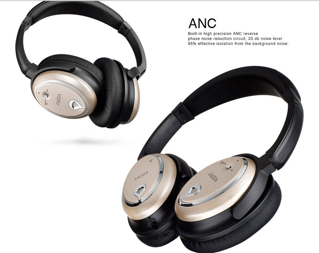 JAZZA ANC-J2 Foldable Stereo Active Noise Cancelling Headphones for Cellphone Smartphone Iphone/ipad/laptop/tablet/computer/MP3/MP4/etc, Strong Bass, Folding and Lightweight Travel Headset (Gold) by JAZZA (Image #2)