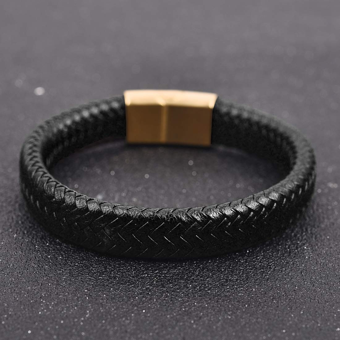 JIAYIQI Braided Leather Bracelets for Mens with Magnetic Clasp Bracelet 7.3-8.7 Inch