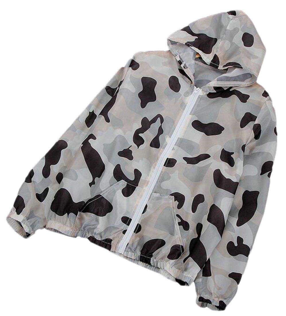 Suncolor8 Women Summer Camo Print Hoodie Sunscreen Zip Front Jacket Coat Outwear 8 OS