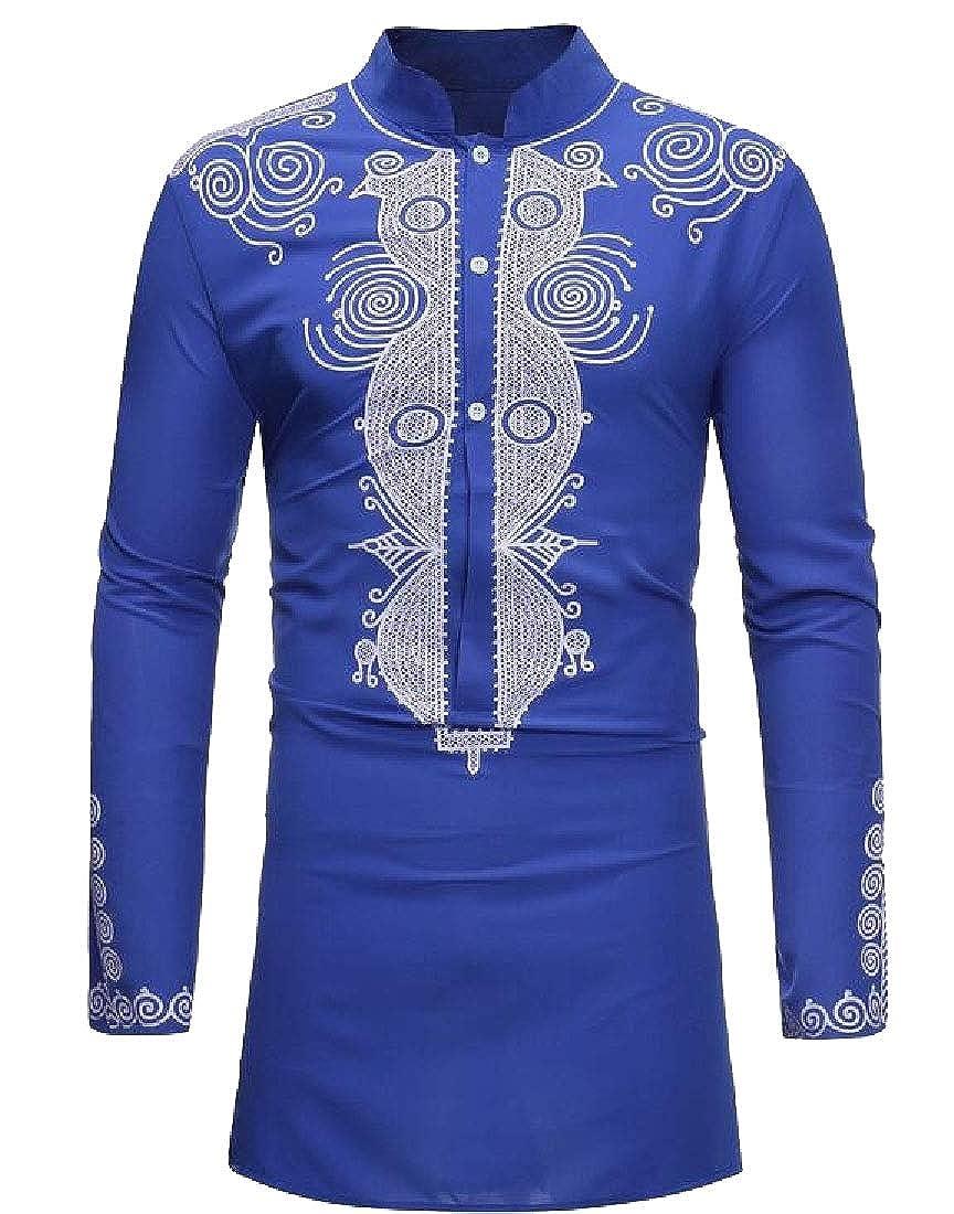 Yayu Mens Basic Style African Dashiki Stand-up Collar Shirt