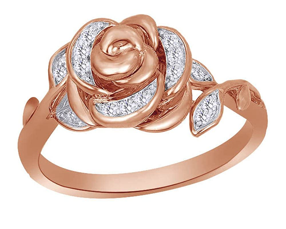 Round Cut White Natural Diamond Rose Ring in 10K Solid Gold (1/10 Cttw) wishrocks ASLR-420