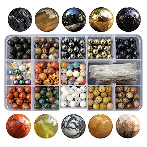Chengmu 8mm Stone Beads Kit for Jewelry Making 230pcs Natural Gemstone Agate White Howlite Black Lava Hematite Assorted Color Round Loose Beads Set for Bracelet Necklace With Accessories Tools Color 3 - Natural Loose Gemstone Beads