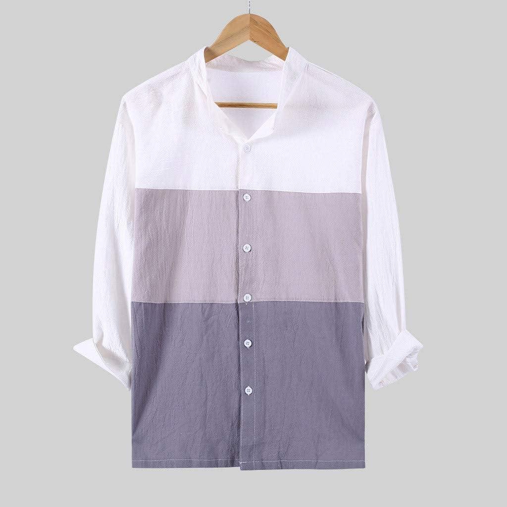 Transwen - Camisa Vintage de Tres Cuartos de la Moda para Hombre, Estilo Retro, Unisex, de Lino Gris L: Amazon.es: Ropa y accesorios