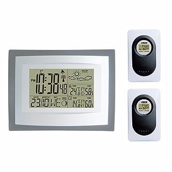 Estación meteorológica inalámbrica (Reloj digital con interior exterior Temperatura Humedad & Monitor y mando a
