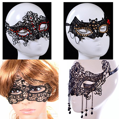 Masque Ball Costumes (AugusWu Sexy Black Lace Masque Ball Eye Mask Masquerade Eyemask Prop Reverie 1)