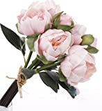 "14"" Real Touch Latex Small Peony bunch artificial spring flowers for home decor, wedding bouquets, and centerpieces (6 PCS) (Shabby Chic Pink)"