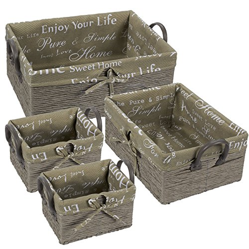 Juvale Fabric Storage Container - 4-Piece Utility Storage Baskets Faux Leather Handles, Woven Nesting Bins, Decorative Organizing Baskets Shelves, Gray Rope and Home Text Design, Small Medium Large ()