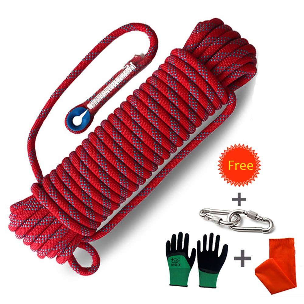 Procity Climbing Rope Professional Outdoor Static Rock Climbing Rope,Escape Rope Ice Climbing Equipment Fire Rescue Parachute Rope (red, 32 feet) by Procity