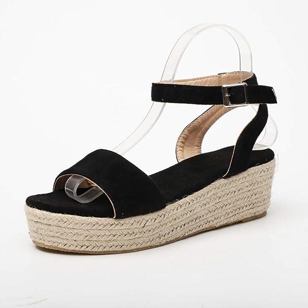 sandalias negras para mujer de corcho