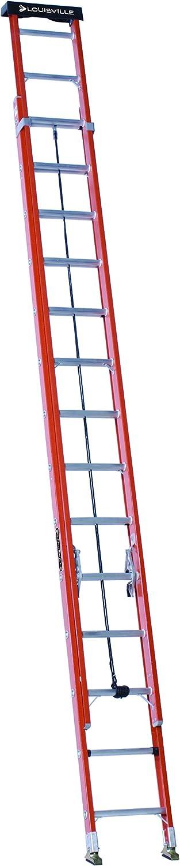 Louisville Ladder L-3025-24 Type IA Load Capacity Light Fiberglass Extension Ladder 24//300 lb