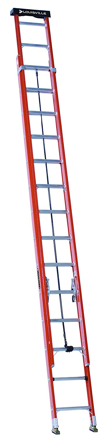 6. Louisville Ladder 28-Foot Fiberglass Extension Ladder with Pro Top, 300-Pound Capacity, L-3022-28PT