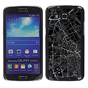 Jordan Colourful Shop - Street Map City Plans Blueprint For Samsung Galaxy Grand 2 Personalizado negro cubierta de la caja de pl????stico
