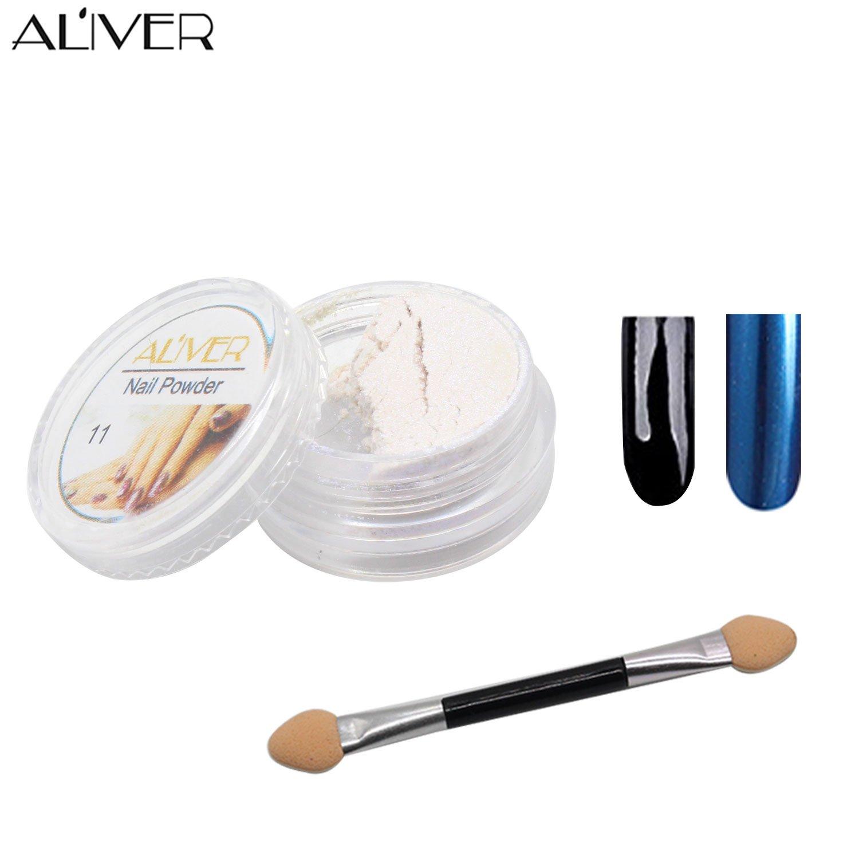 Aliver® 12couleurs Vernis à ongles Paillettes Shimmer Poudre en brillant Nail Art DIY Pigment avec éponge bâton Mouis