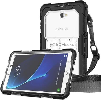 Compatible Samsung Galaxy Tab A 6 10.1 Protection Anti-Choc avec Support Int/égr/é et Bandouli/ère Amovible Coque Rigide Noir//Clair S/éries SM-T580 TECHGEAR/® Coque Vanguard Galaxy Tab A 10.1