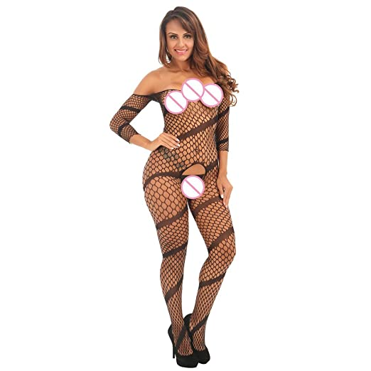 4db3a29dc7 Image Unavailable. Image not available for. Color  Cywulin Women s Sexy  Fishnet Crotchless Floral Bodystocking Open Crotch Elastic Tights Stockings  Lingerie ...
